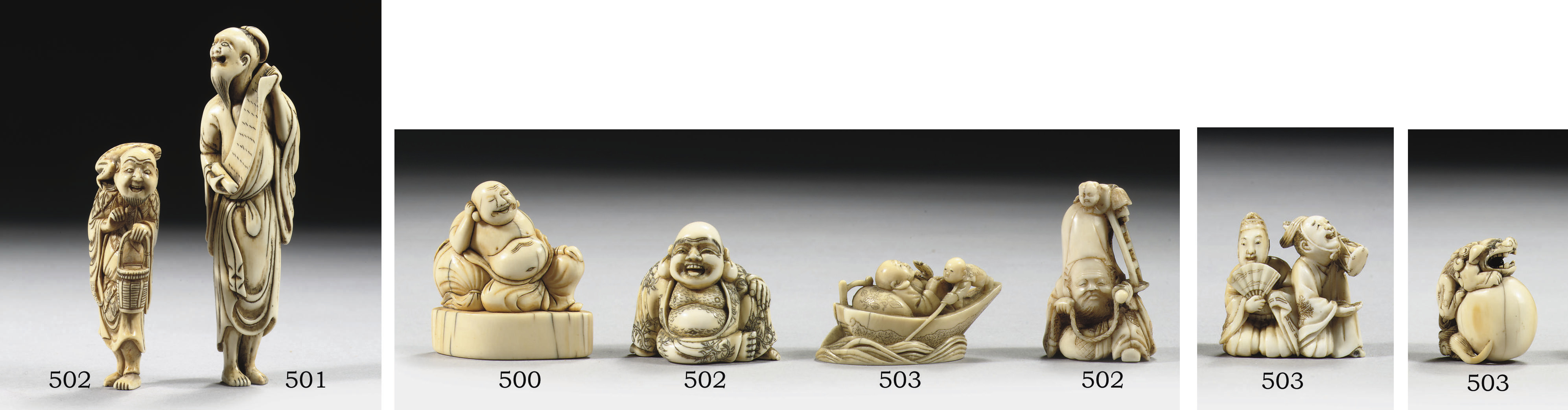 Three netsuke in different mat