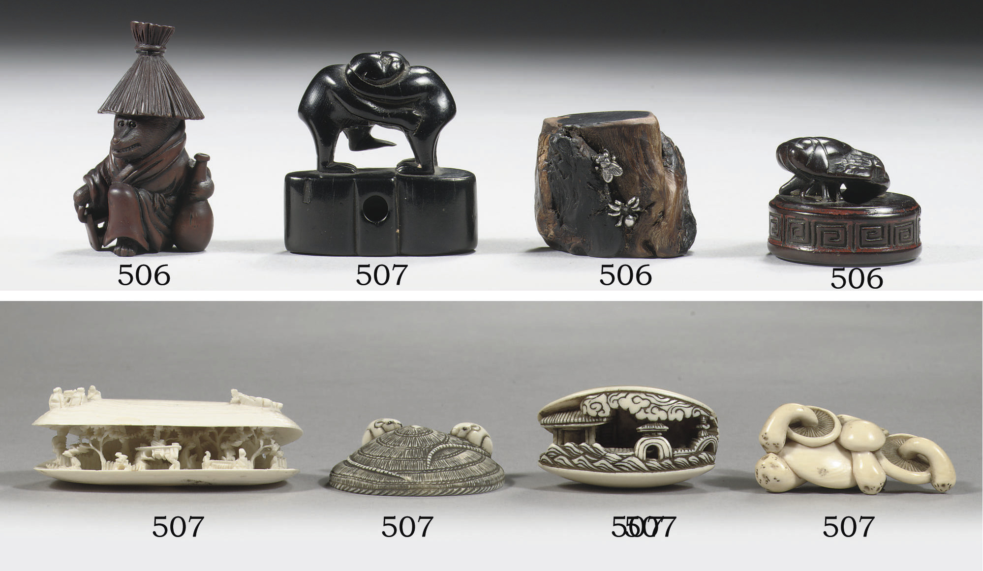 Five netsuke in different mate