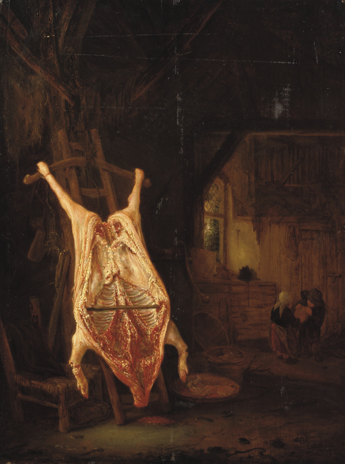 A barn interior with a slaughtered pig, children playing beyond