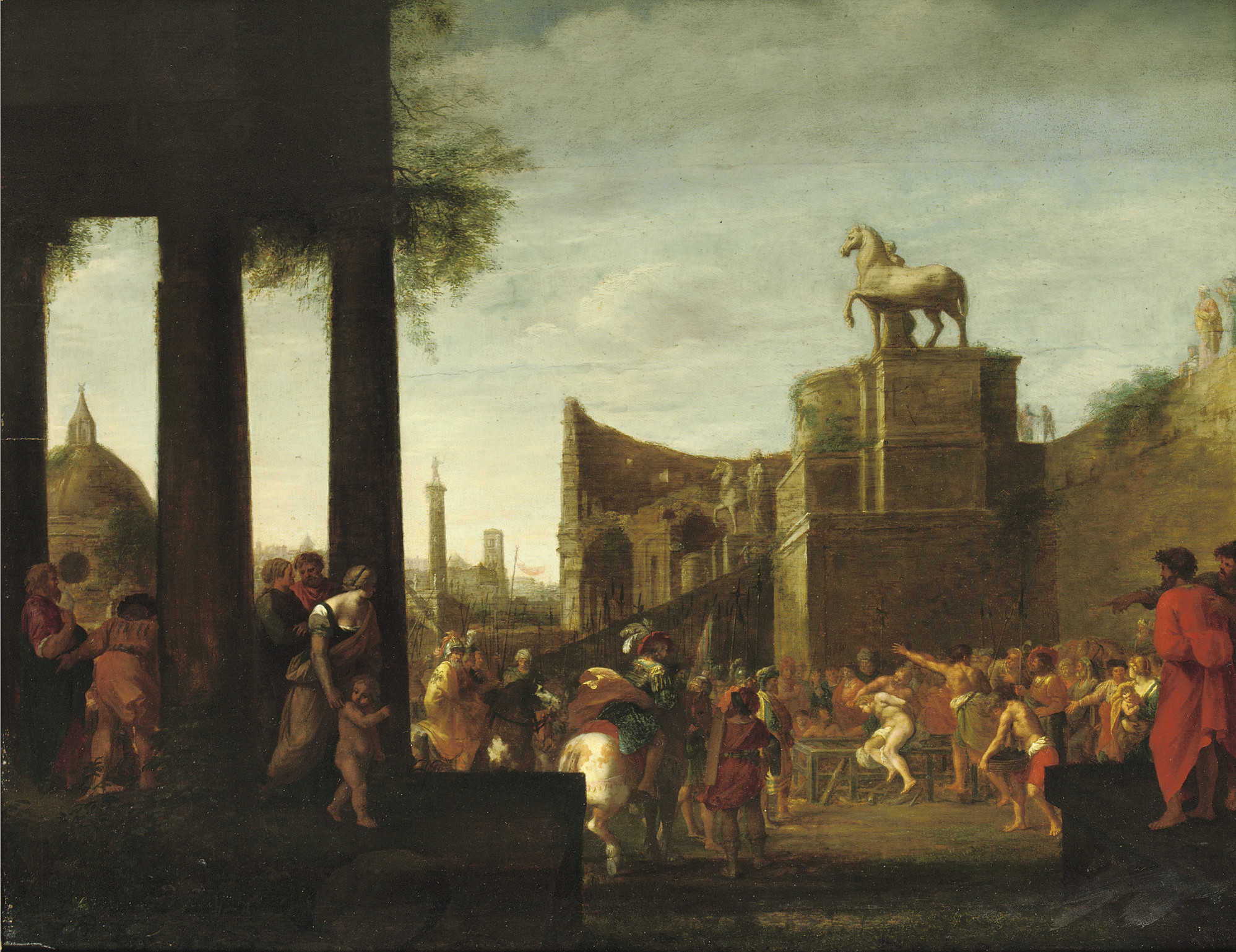 A 'capriccio' view of Rome with the Martyrdom of Saint Lawrence