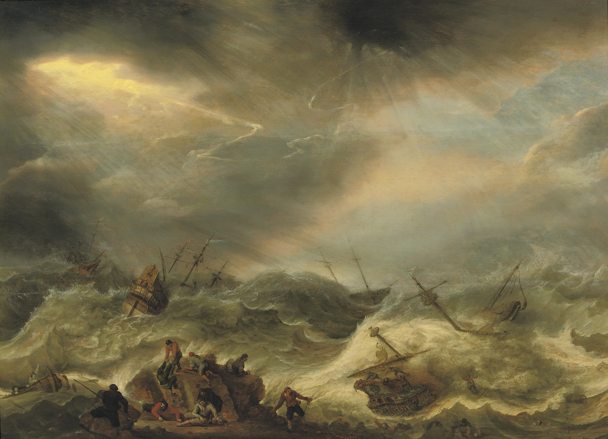 A shipwreck in stormy waters