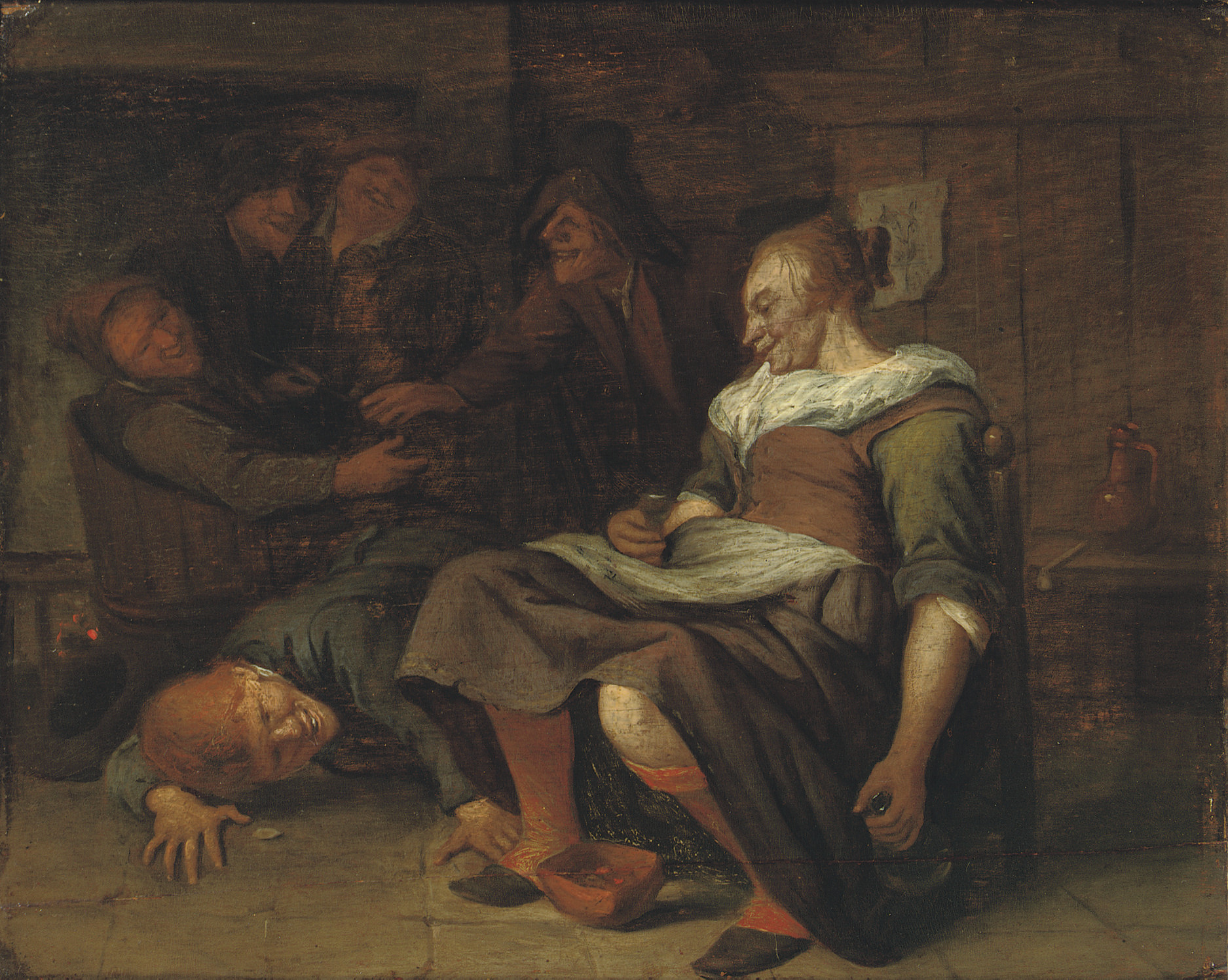 A peasant woman with a boy trying to look under her skirt