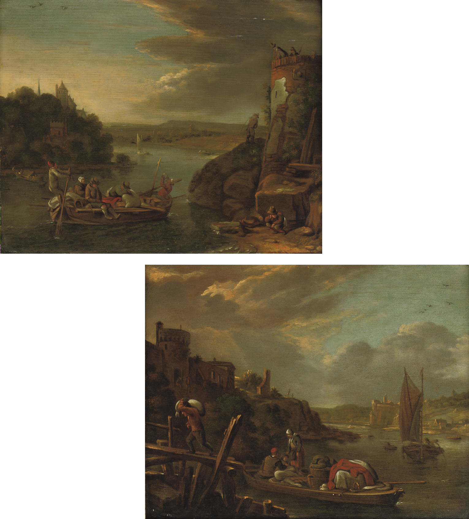 A river landscape with peasants unloading a boat at a jetty; and A river landscape with a peasant pulling a ferry before a watch tower