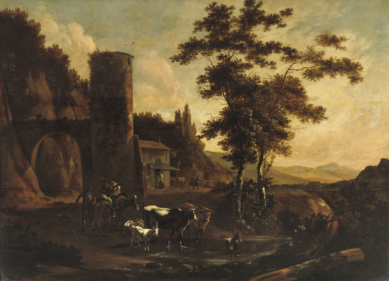 A wooded landscape with peasants and their cattle, goats and sheep by a tower