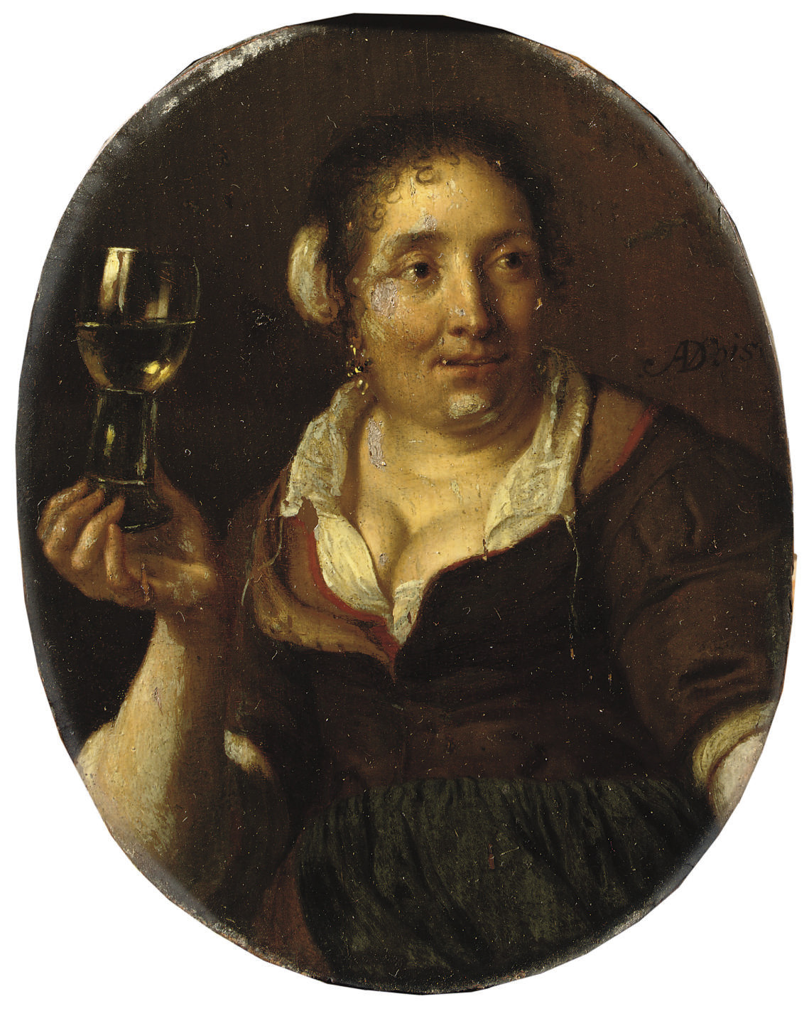 A peasant woman holding a glass of wine