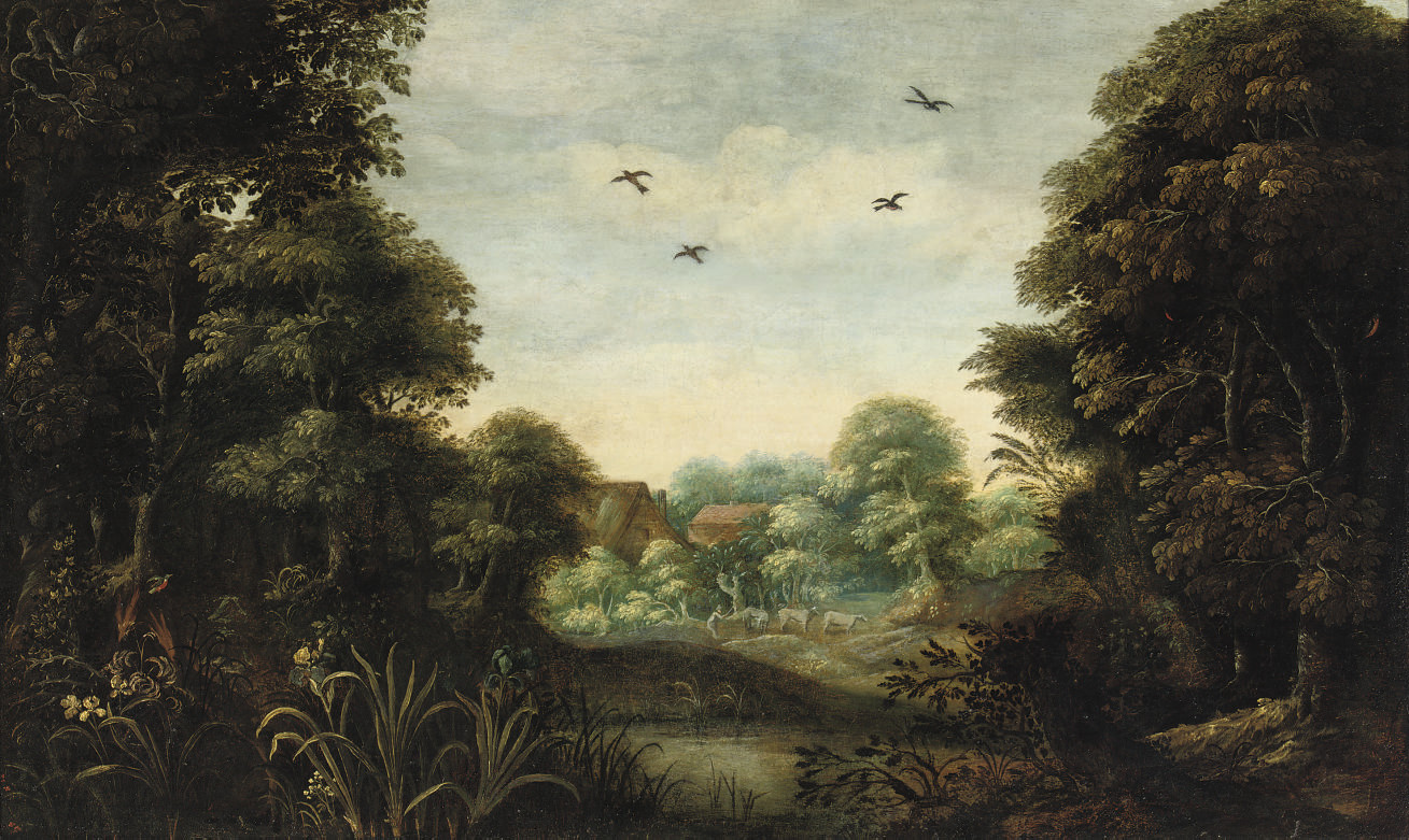 A wooded landscape with a peasant and his herd near a village