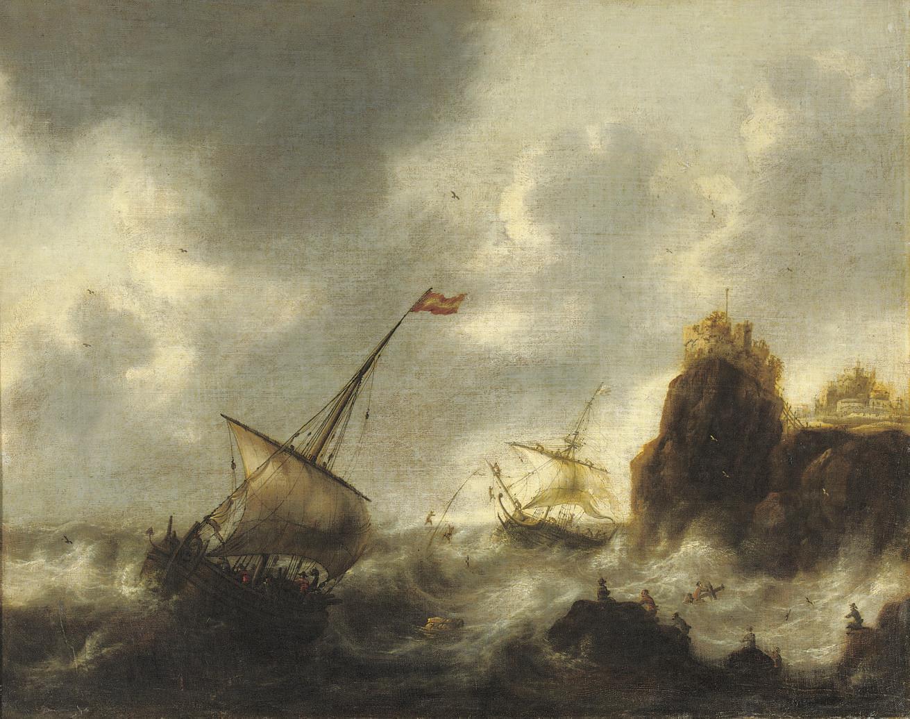 Sailing vessels in distress near a rocky coast