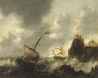 Sailing vessels in distress near a rocky coast