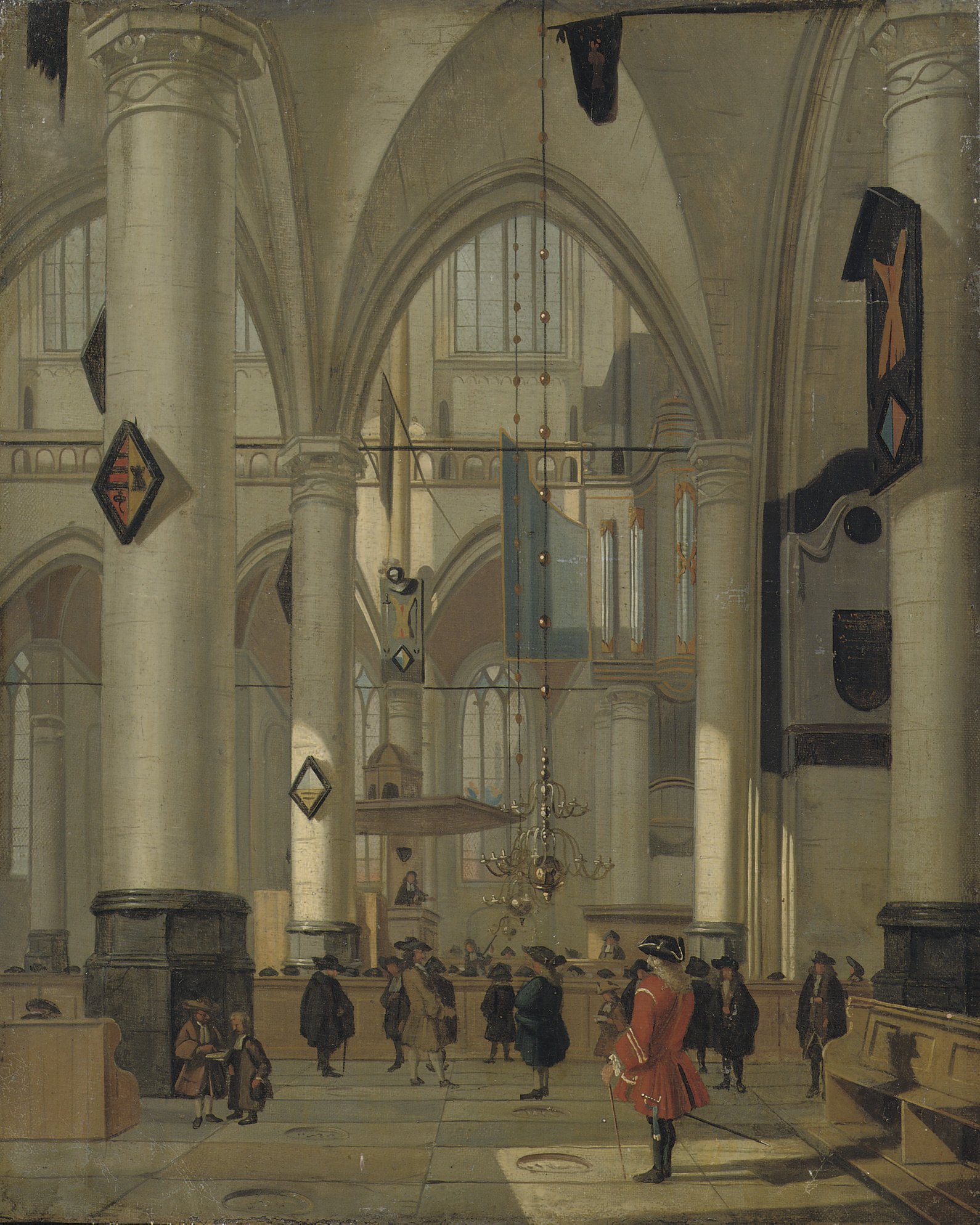 The interior of a protestant church with elegant figures