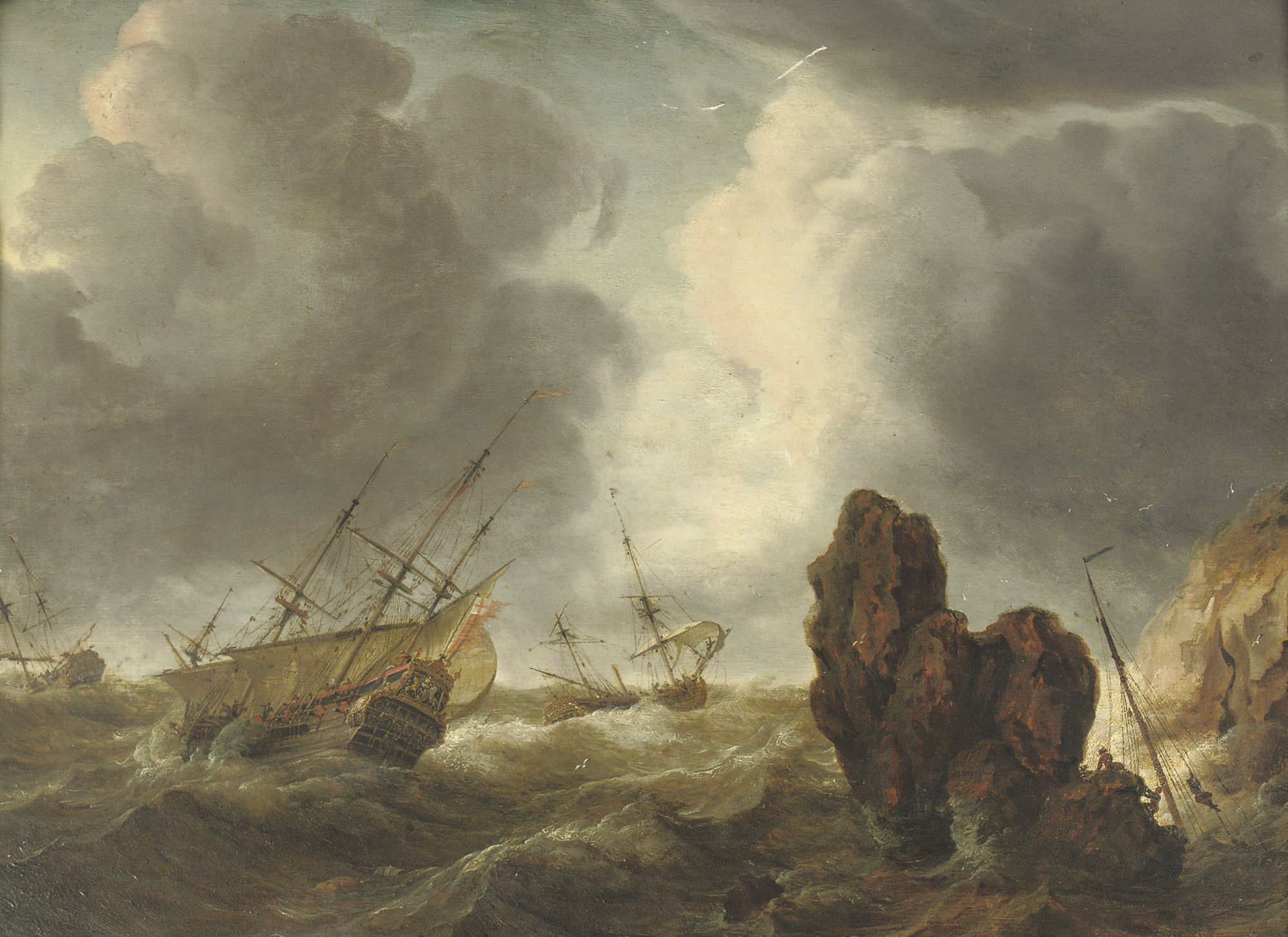 Shipping in stormy waters near a rocky coast