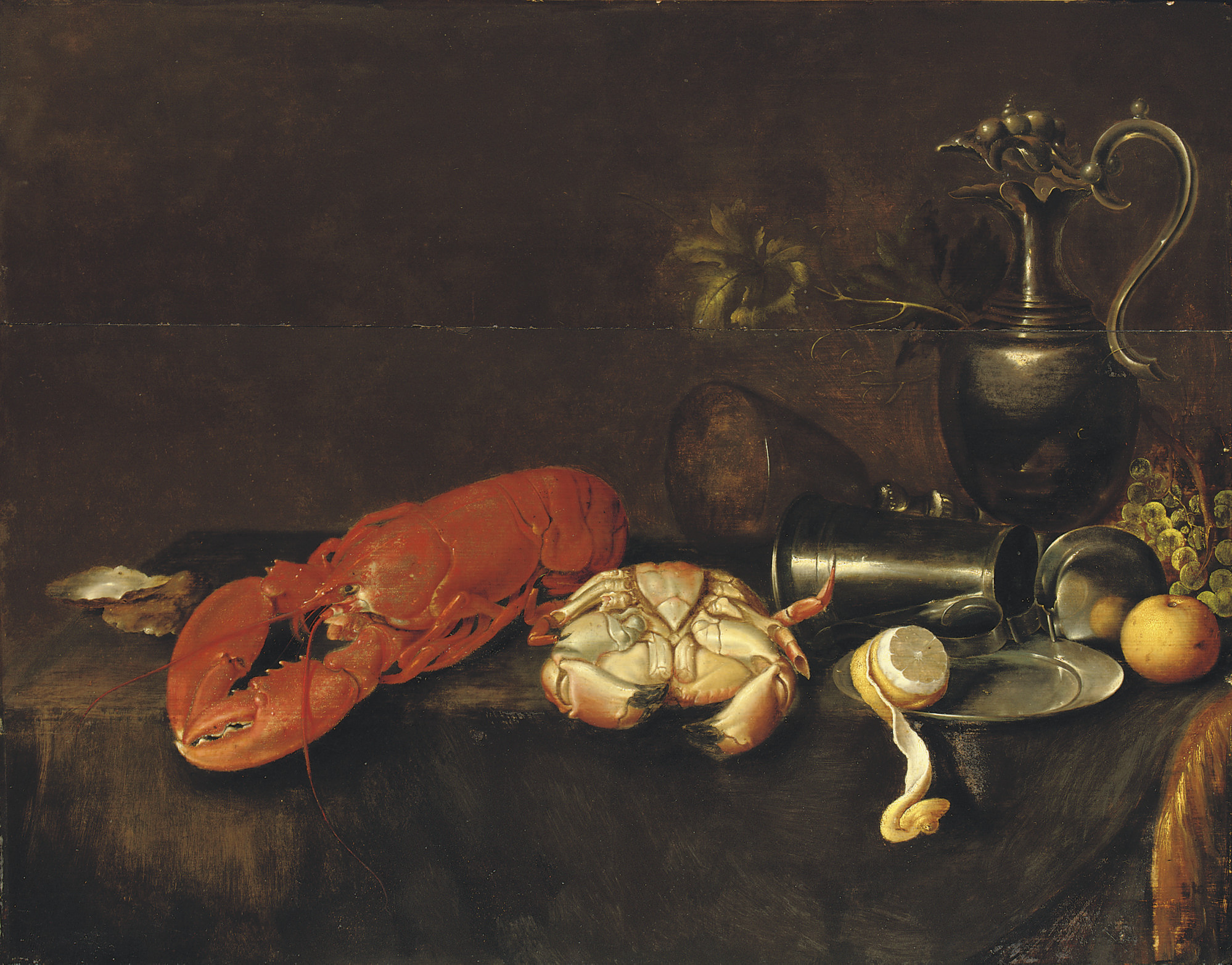 A lobster, a crab, an oyster, a pewter pitcher, a partially peeled lemon, an apple and grapes on a draped table