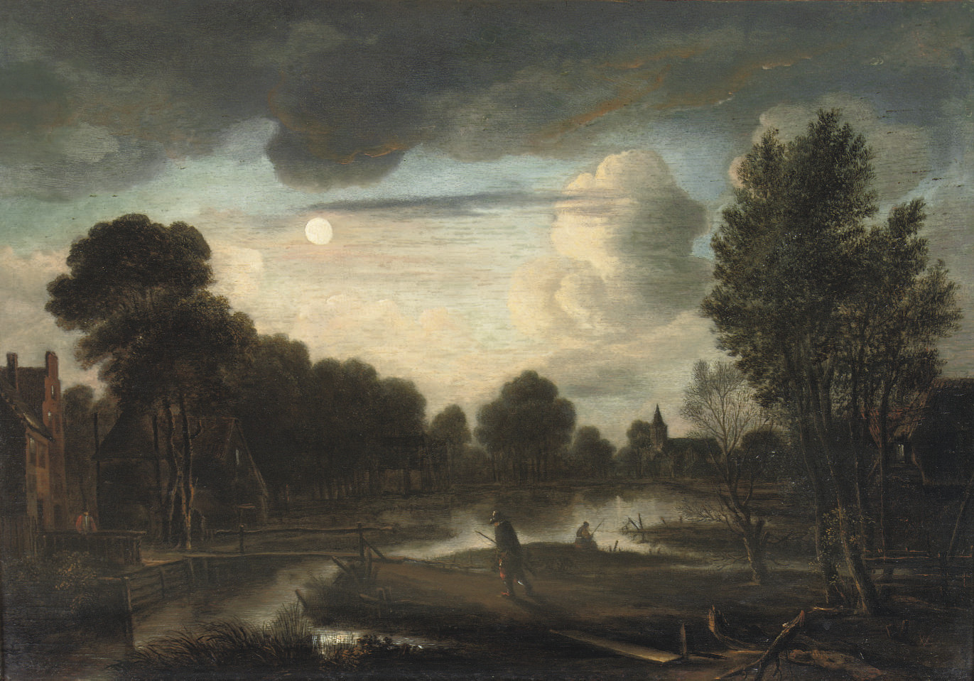 A moonlit river landscape with three figures near a bridge and a church in the distance