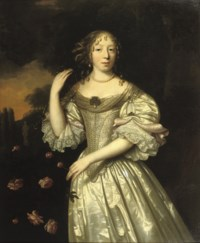 Portrait of a lady, three-quarter-length, in a silver silk dress decorated with pearls, standing in a park landscape near a bush of roses