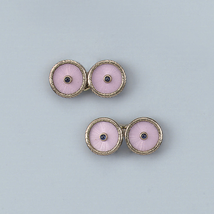 A PAIR OF MODERN RUSSIAN SAPPHIRE AND ENAMEL CUFF LINKS