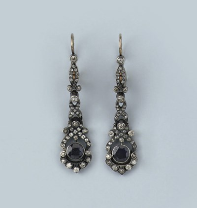 A PAIR OF RUSSIAN SAPPHIRE AND