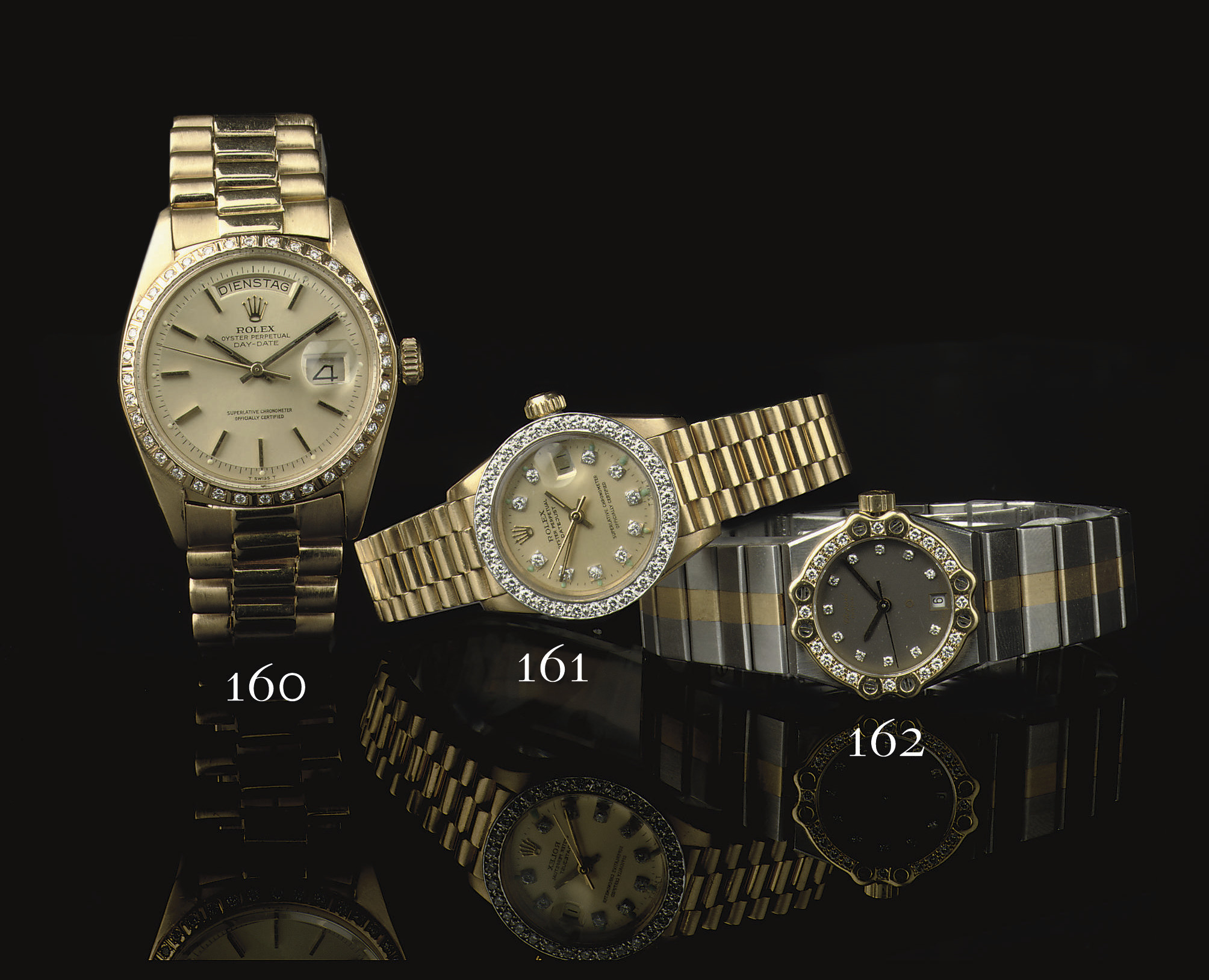 A LADY'S GOLD, STAINLESS STEEL