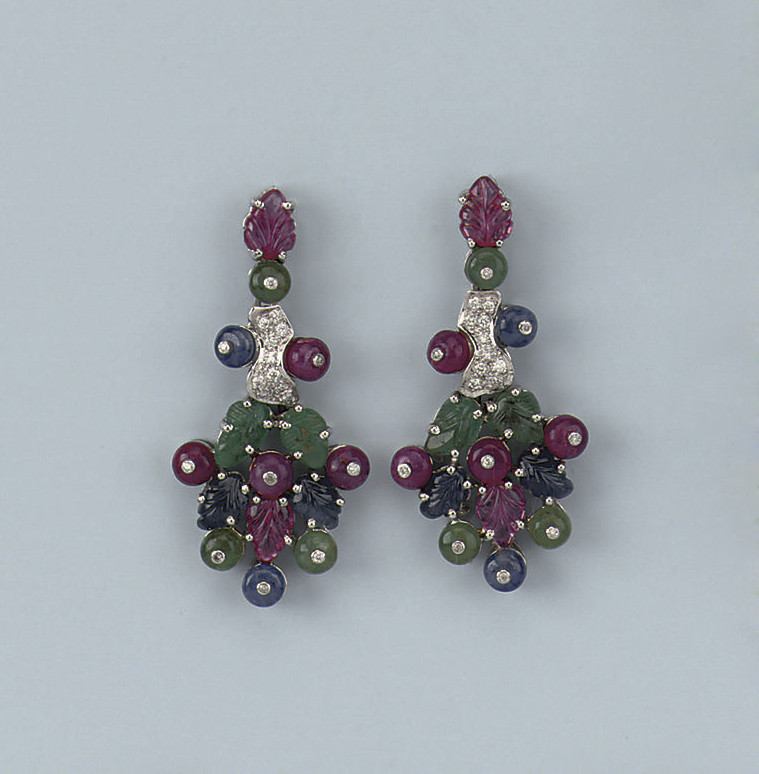 A PAIR OF GEM SET AND DIAMOND EARRINGS