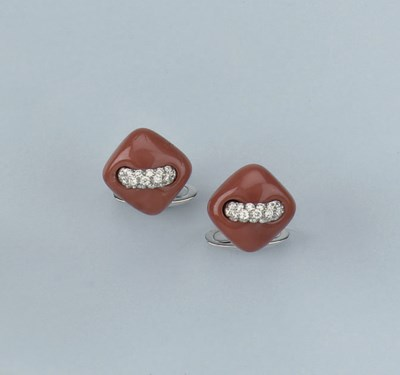 A PAIR OF CORAL AND DIAMOND CU