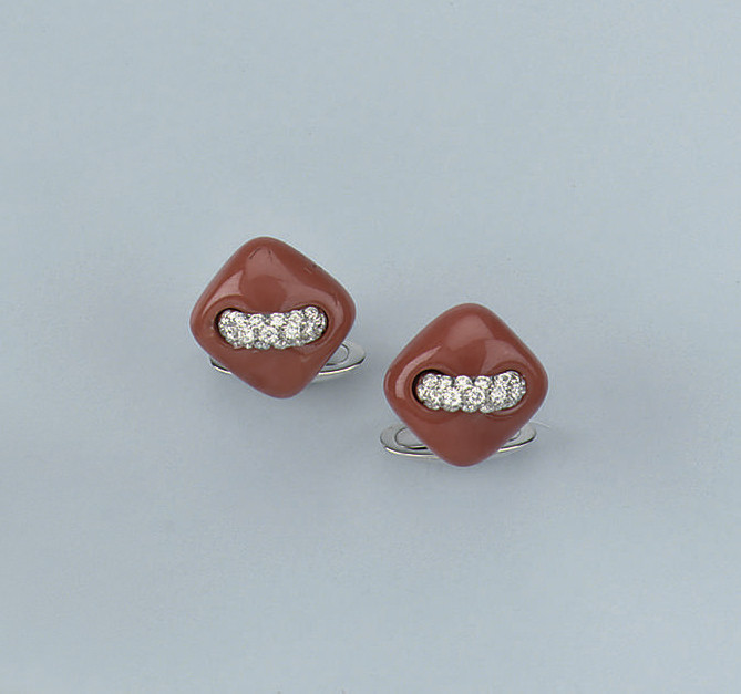 A PAIR OF CORAL AND DIAMOND CUFF LINKS, BY MARGHERITA BURGENER