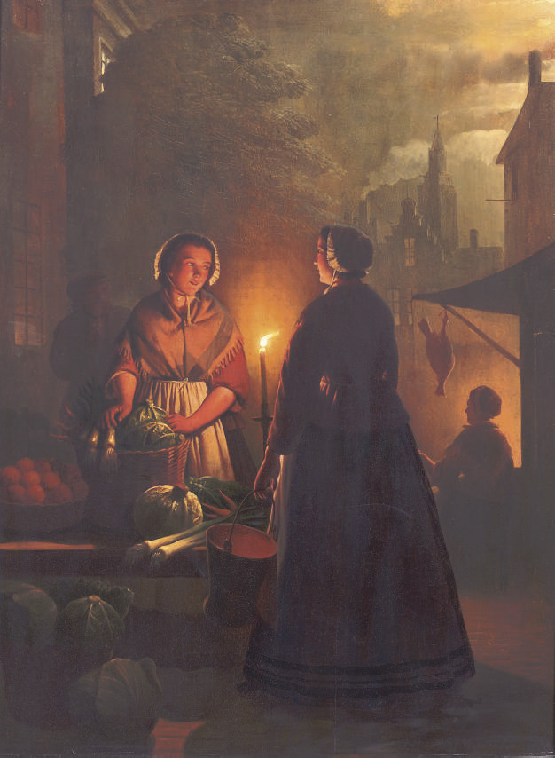 A market stall by night