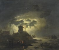 Fishing by the windmill at night