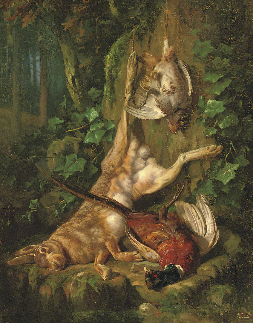A still life with a hare and poultry
