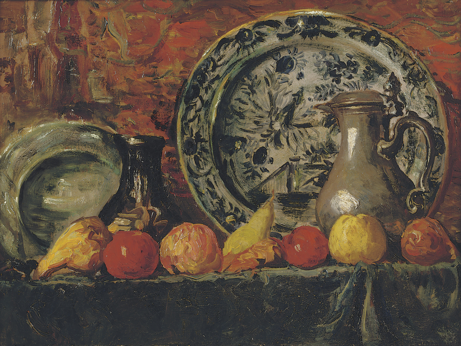 Still life with fruit, plates and jugs