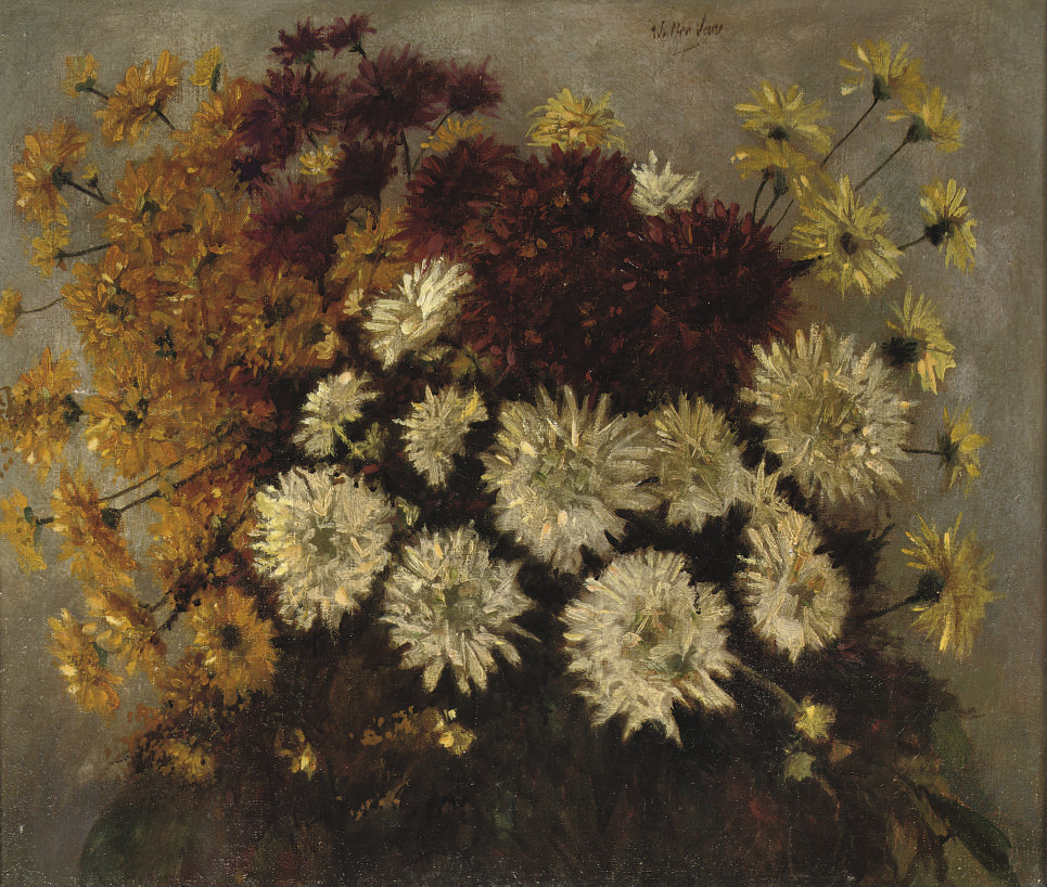 A bouquet of white, red and orange asters