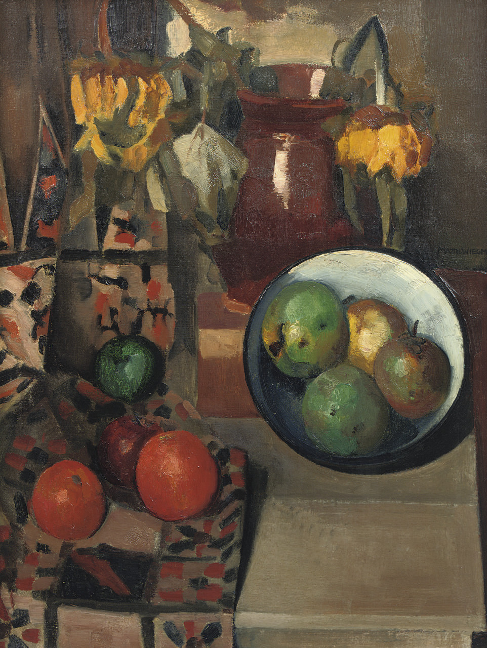 A still life with apples