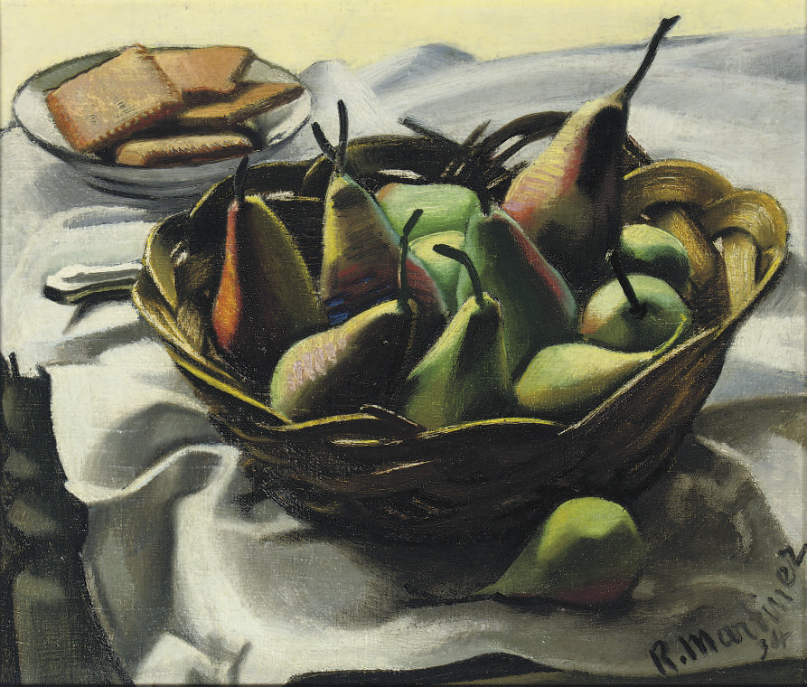 A still life with pears in a basket