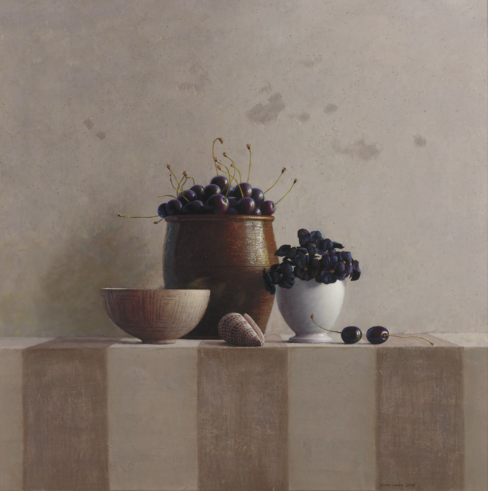 A still life with cherries, violets and a seashell
