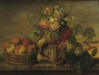 A still life with peaches, flowers and grapes on a ledge