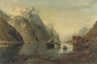 Anchored sailing-vessels in a fjord
