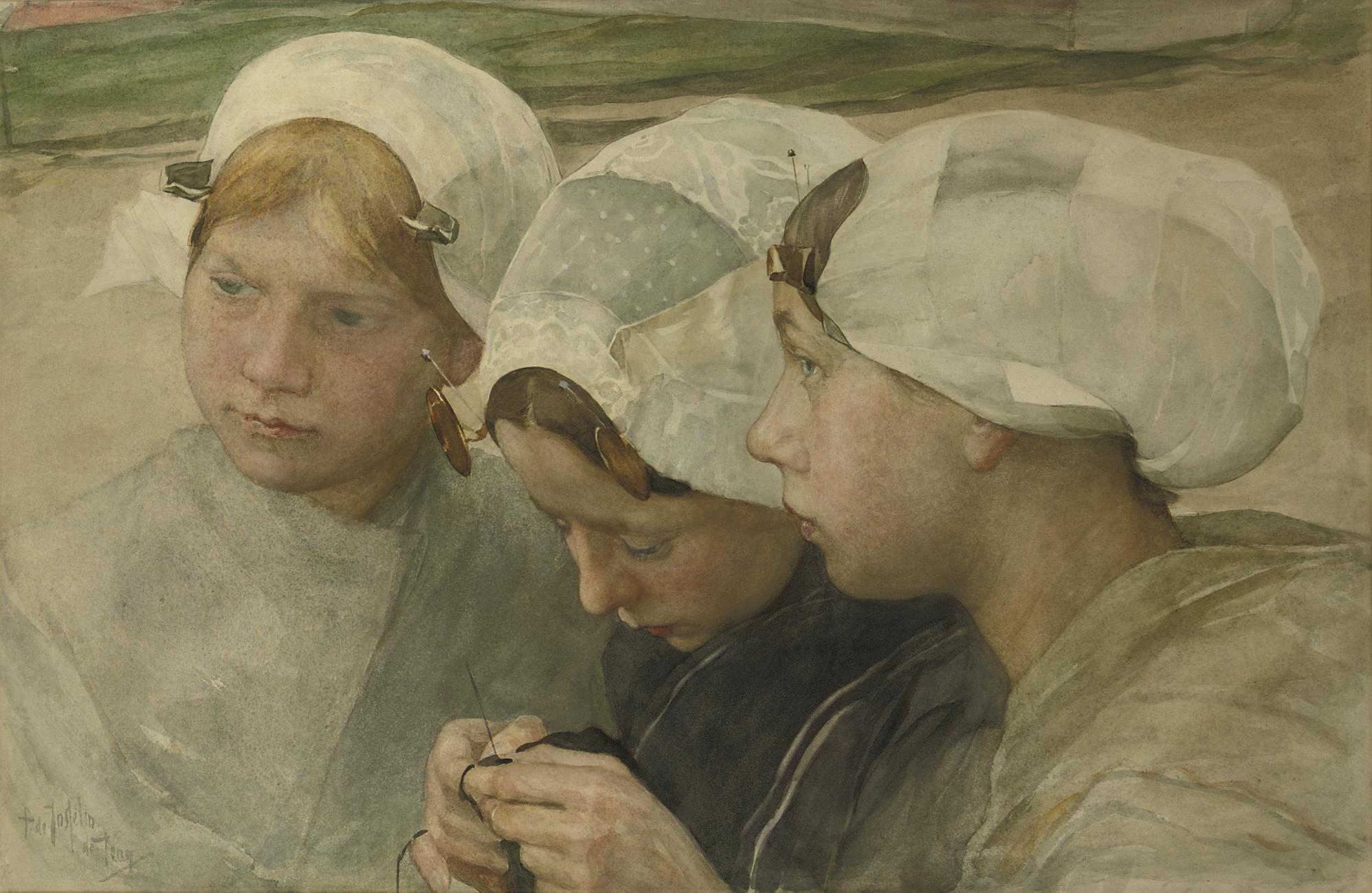 Drie Scheveningse meisjes: three friends, Scheveningen
