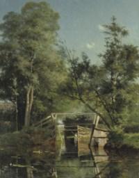Landschap te Giethoorn: punting on calm water near a bridge