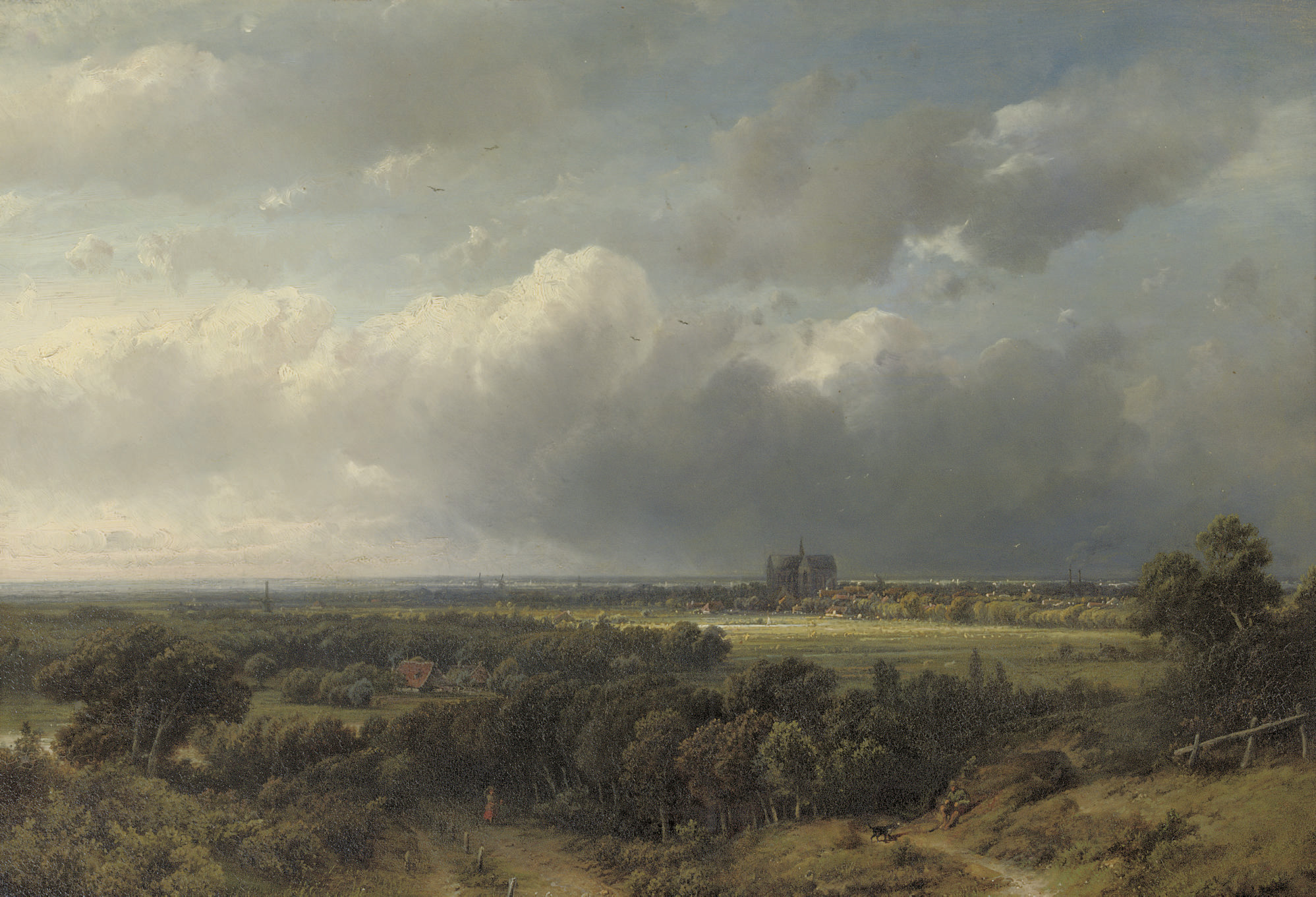 Gezicht op Haarlem: a panoramic view of Haarlem with the St. Bavokerk in the distance