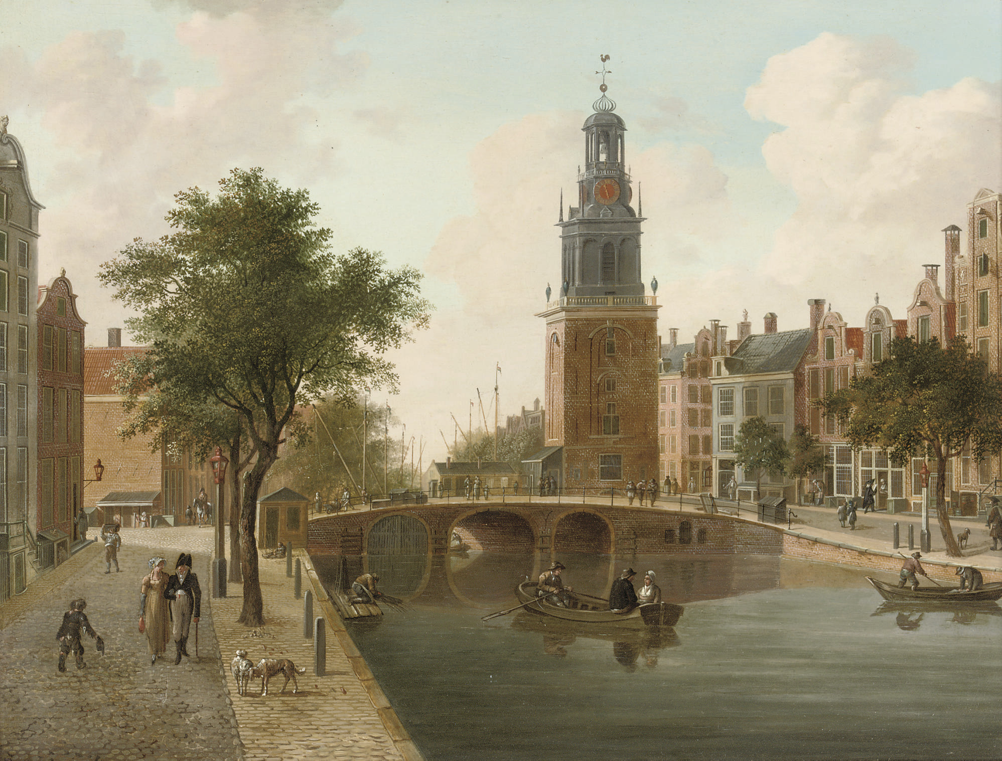 The Singel towards the Torensluis and the Jan Roodenpoort, Amsterdam