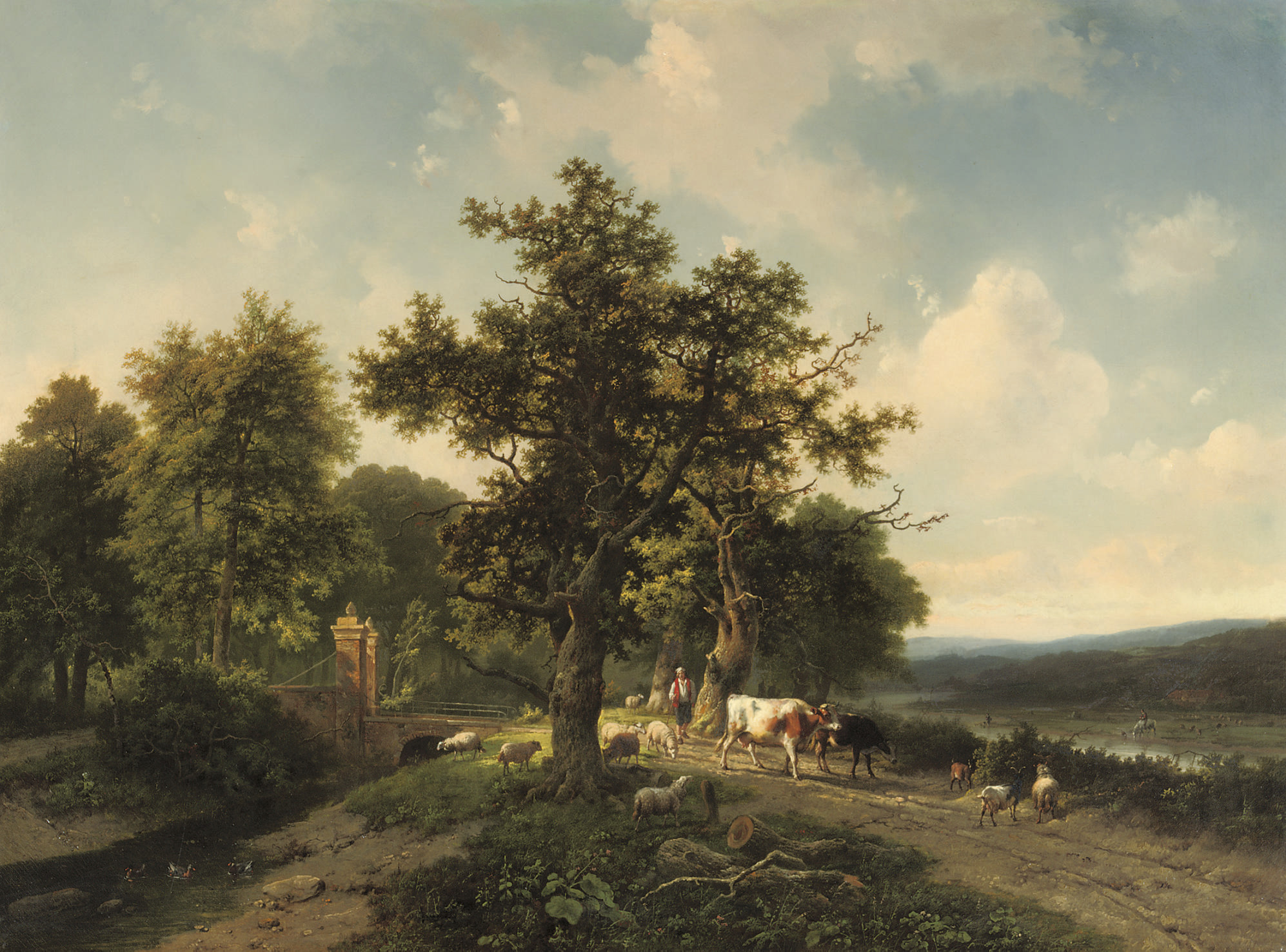 A panoramic river landscape with cattle near a bridge