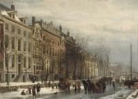Gezicht op de Heerengracht bij den Amstel in het einder der 17de Eeuw: Amsterdam in winter