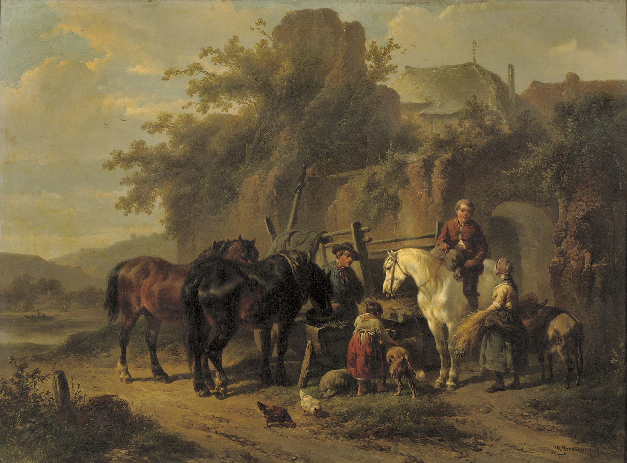 Feeding the horses by an old town wall