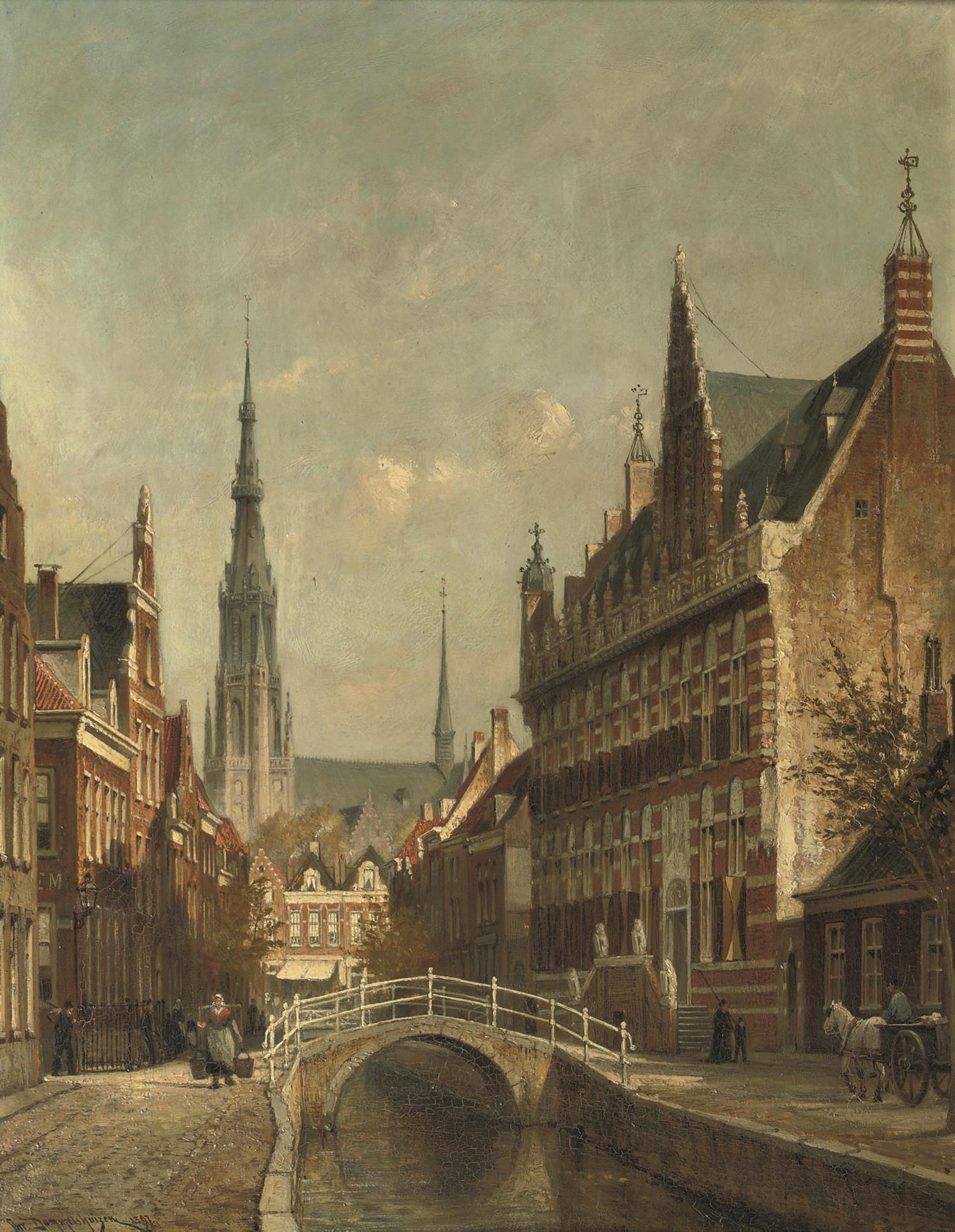 De kanselarij te Leeuwarden: a sunlit canal