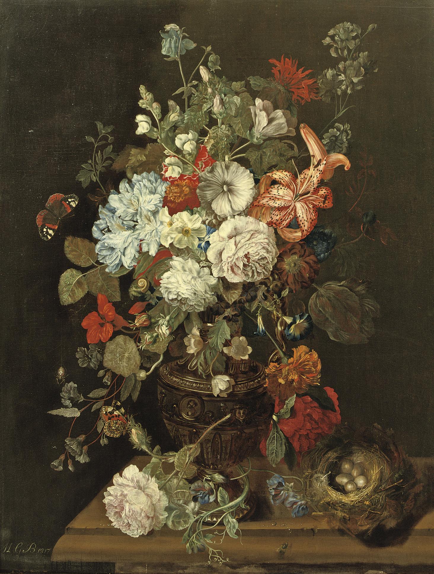 Still life with flowers, a bird's nest and butterflies