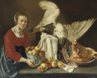 A kitchen maid holding a porcelain bowl with apples, standing by a table with a goose and a pig's head