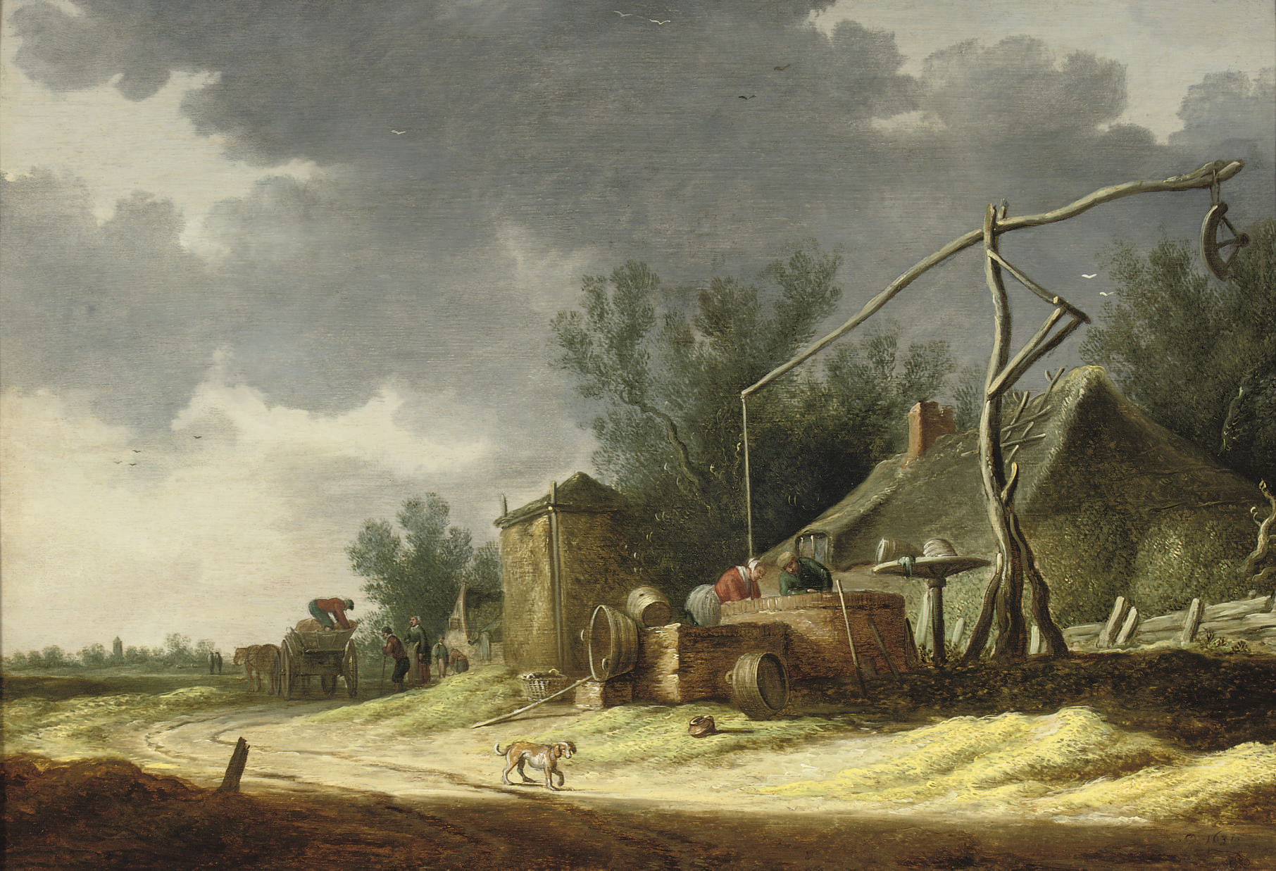 A dune landscape with peasants at a well near a cottage