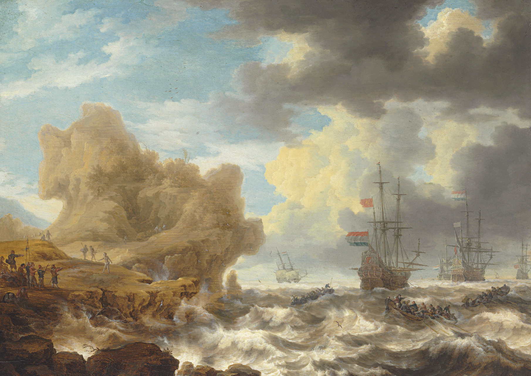Dutch ships off a rocky coast with colonists encountering natives