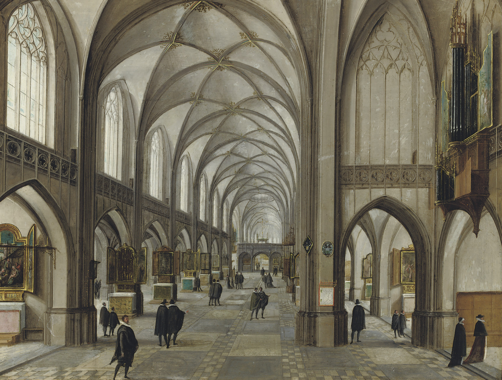 A gothic church interior with elegantly dressed figures