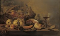 Quinces, peaches, a sliced melon on a silver plate, a bread roll, a leg of ham on a pewter plate, a knife, a 'Roemer' of white wine, a stoneware jug and a basket of fruit, all on a table