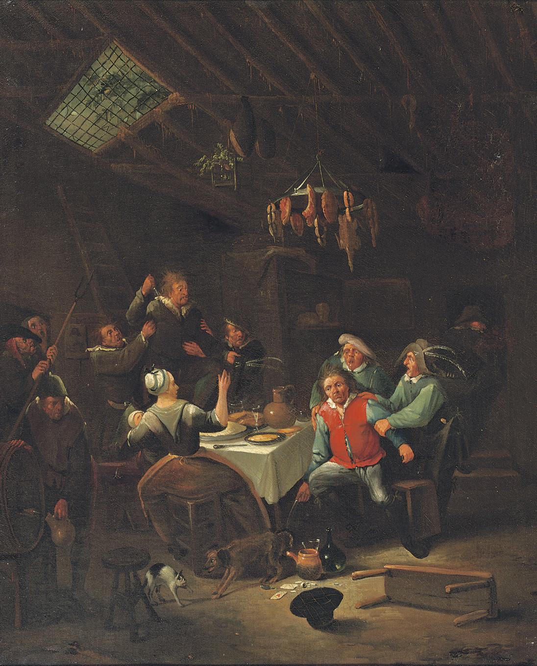 A peasant brawl in an interior
