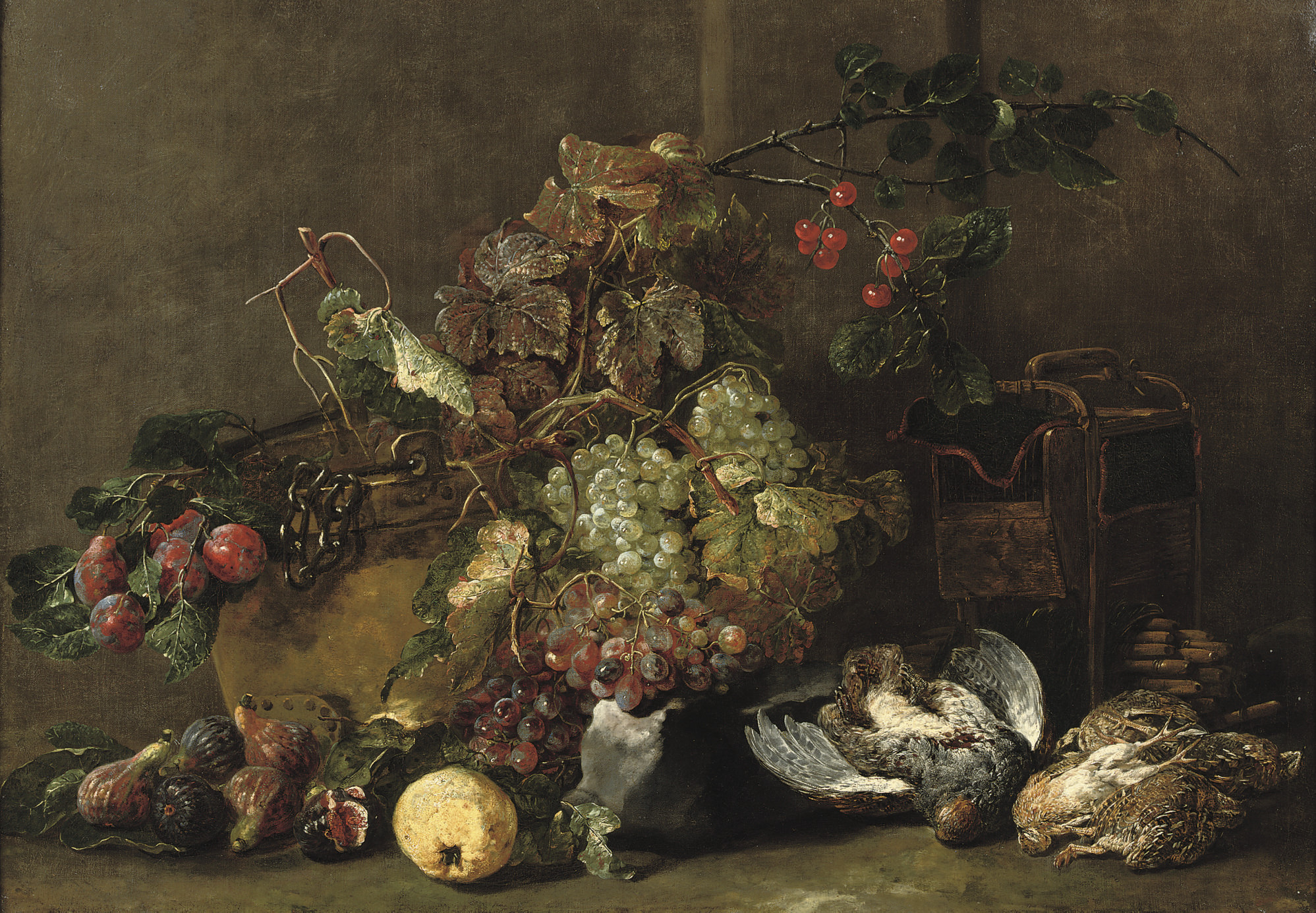 Mixed grapes, cherries and plums by a cauldron with figs, an apple, a partridge and four quails nearby