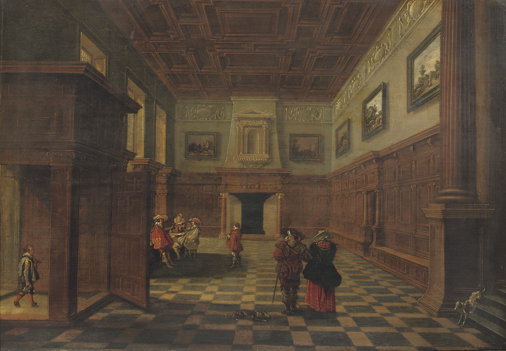 An interior of a palace with figures conversing
